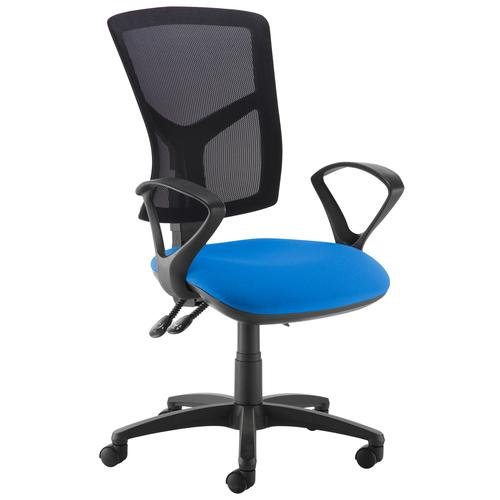 Senza high mesh back operator chair with fixed arms - blue