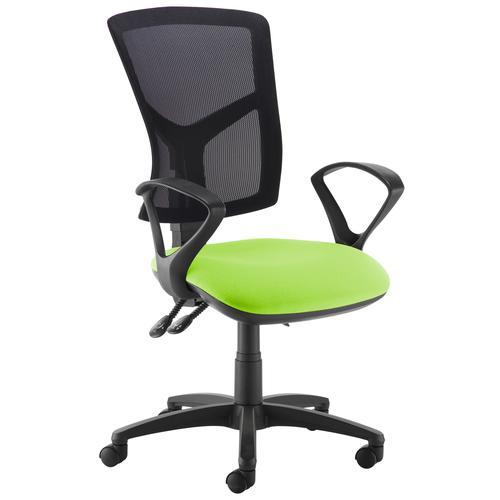 Senza high mesh back operator chair with fixed arms - green
