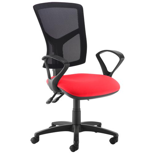 Senza high mesh back operator chair with fixed arms - red