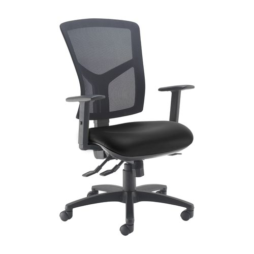 Senza high mesh back operator chair with adjustable arms - Nero Black vinyl