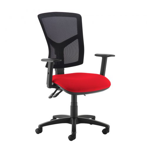 Red high mesh back operator chair with adjustable arms