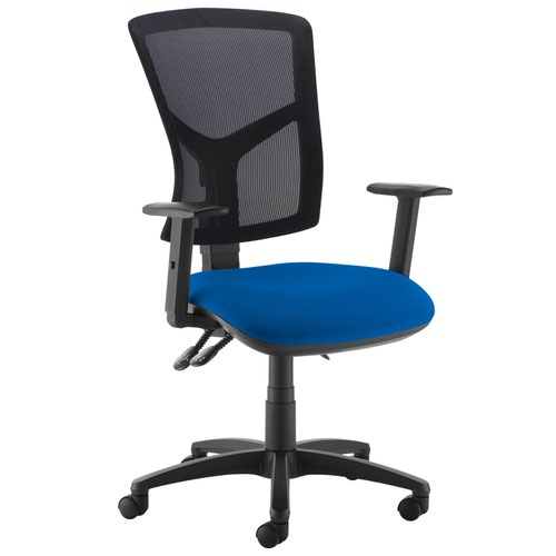 Senza high mesh back operator chair with adjustable arms - Curacao Blue