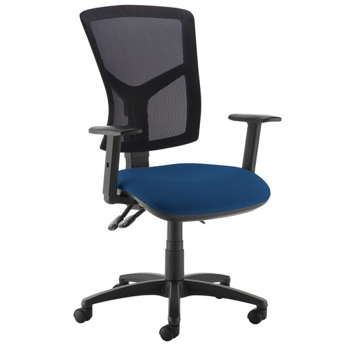 Senza high mesh back operator chair with adjustable arms - Costa Blue