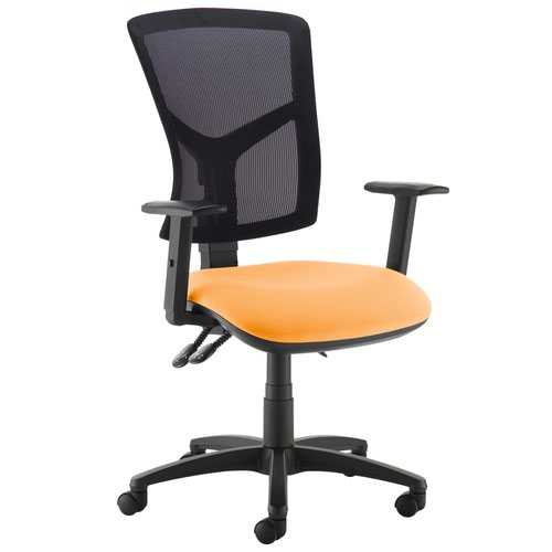 Senza high mesh back operator chair with adjustable arms - Solano Yellow