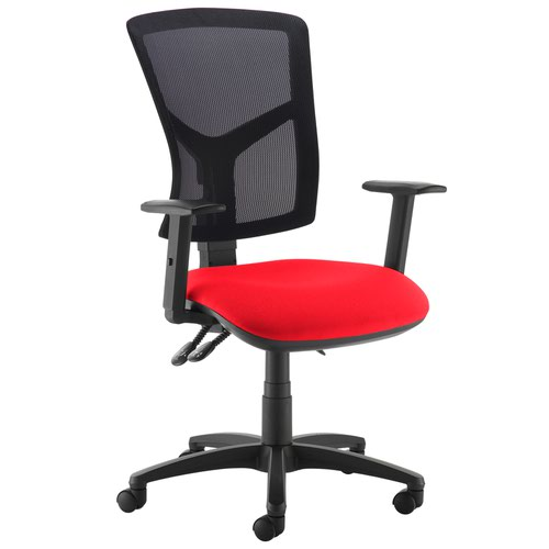 Senza high mesh back operator chair with adjustable arms - Panama Red