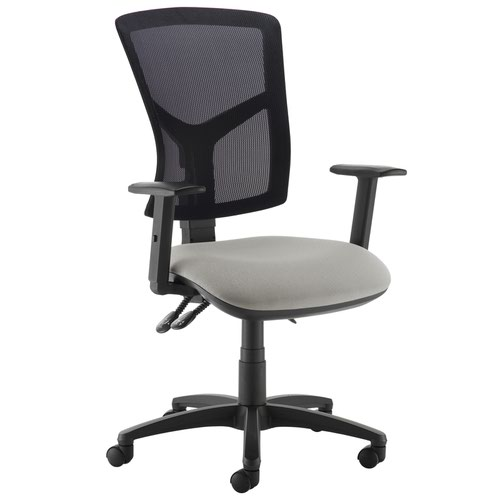 Senza high mesh back operator chair with adjustable arms - Slip Grey