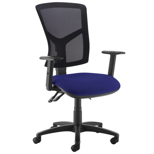 Senza high mesh back operator chair with adjustable arms - Ocean Blue