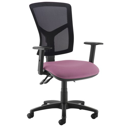 Senza high mesh back operator chair with adjustable arms - Bridgetown Purple