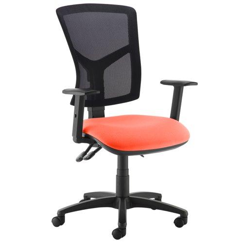 Senza high mesh back operator chair with adjustable arms - Tortuga Orange