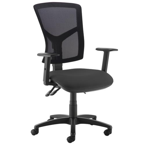 Senza high mesh back operator chair with adjustable arms - black