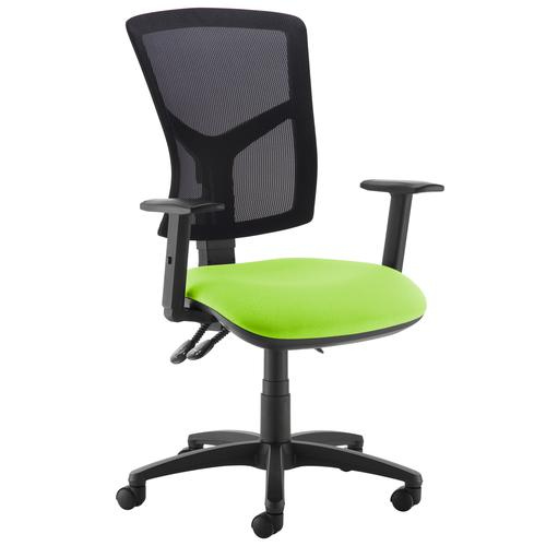 Senza high mesh back operator chair with adjustable arms - green Office Chairs SM44-000-GRN