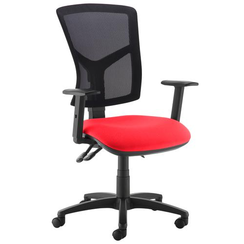 Senza high mesh back operator chair with adjustable arms - red