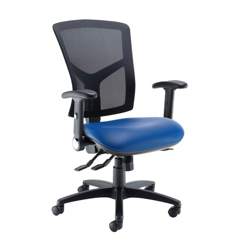 Senza high mesh back operator chair with folding arms - Ocean Blue vinyl