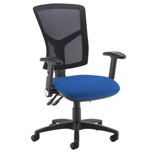 Senza high mesh back operator chair with folding arms - Curacao Blue