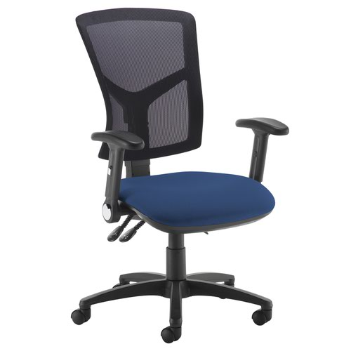 Senza high mesh back operator chair with folding arms - Costa Blue