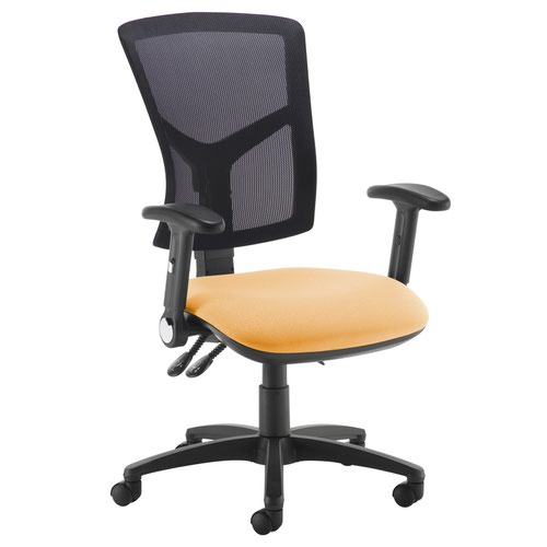 Senza high mesh back operator chair with folding arms - Solano Yellow