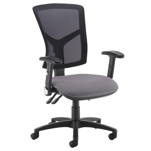 Senza high mesh back operator chair with folding arms - Blizzard Grey