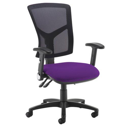 Senza high mesh back operator chair with folding arms - Tarot Purple