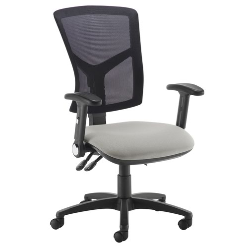 Senza high mesh back operator chair with folding arms - Slip Grey