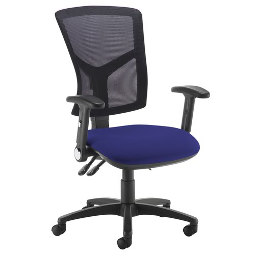 Senza high mesh back operator chair with folding arms - Ocean Blue