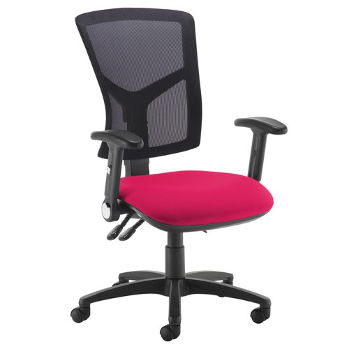 Senza high mesh back operator chair with folding arms - Diablo Pink
