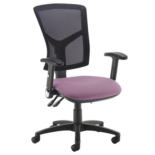 Senza high mesh back operator chair with folding arms - Bridgetown Purple