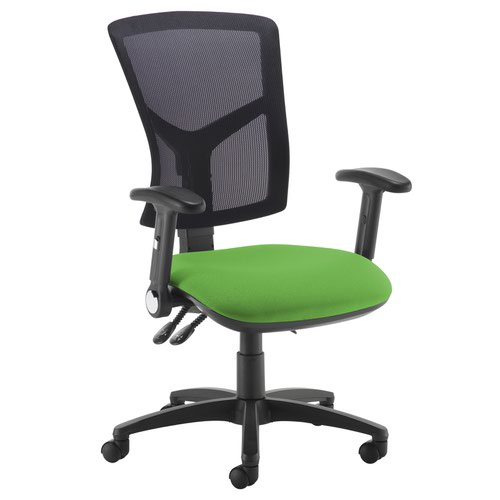 Senza high mesh back operator chair with folding arms - Lombok Green