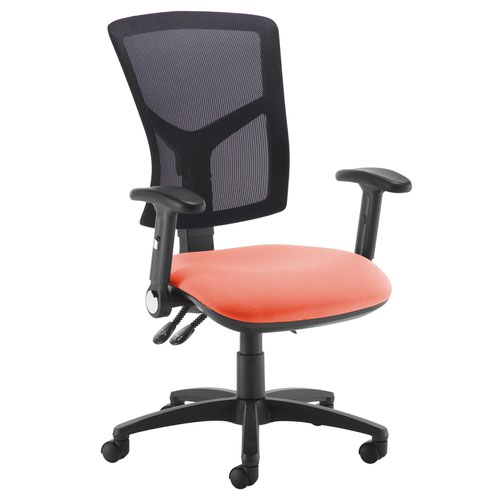 Senza high mesh back operator chair with folding arms - Tortuga Orange