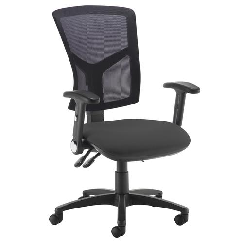 Senza high mesh back operator chair with folding arms - black