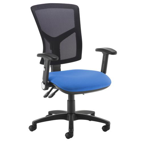 Senza high mesh back operator chair with folding arms - blue