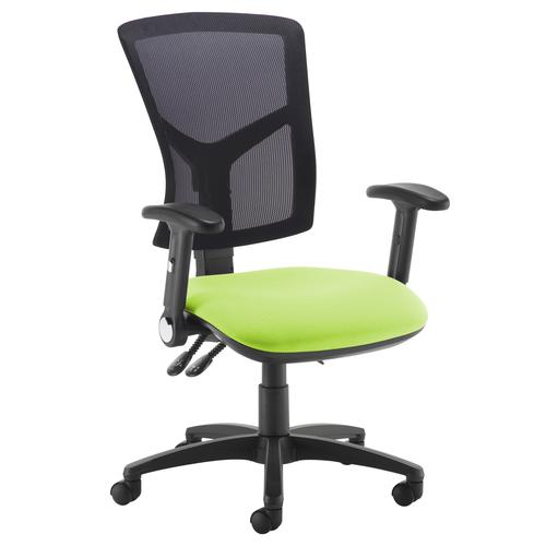 Senza high mesh back operator chair with folding arms - green