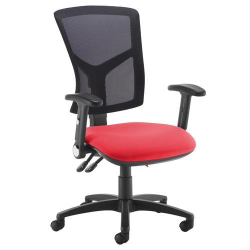 Senza high mesh back operator chair with folding arms - red