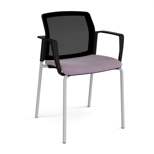 Santana 4 leg stacking chair with fabric seat and mesh back and grey frame and fixed arms - made to order