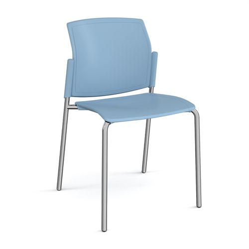 Santana 4 leg stacking chair with plastic seat and back and chrome frame and no arms - blue