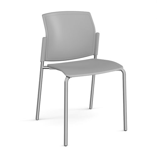 Santana 4 leg stacking chair with plastic seat and back and chrome frame and no arms - grey