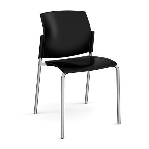 Santana 4 leg stacking chair with plastic seat and back and chrome frame and no arms - black