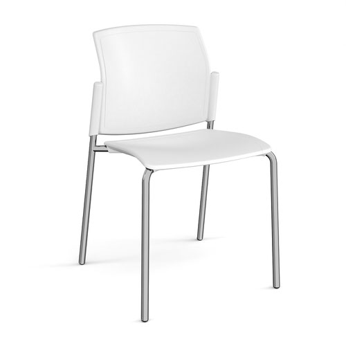 Santana 4 leg stacking chair with plastic seat and back and chrome frame and no arms - white