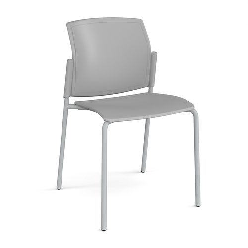 Santana 4 leg stacking chair with plastic seat and back and grey frame and no arms - grey