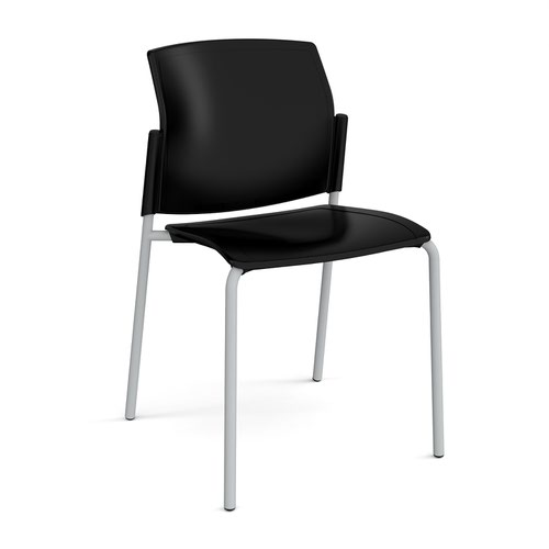 Santana 4 leg stacking chair with plastic seat and back and grey frame and no arms - black