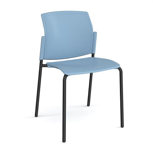 Santana 4 leg stacking chair with plastic seat and back and black frame and no arms - blue