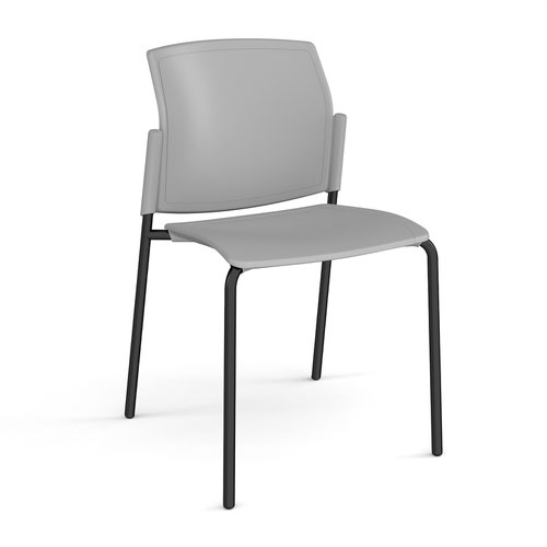 Santana 4 leg stacking chair with plastic seat and back and black frame and no arms - grey