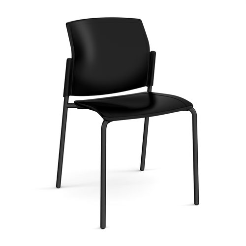 Santana 4 leg stacking chair with plastic seat and back and black frame and no arms - made to order