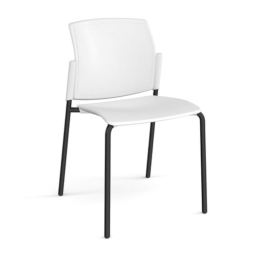 Santana 4 leg stacking chair with plastic seat and back and black frame and no arms - white