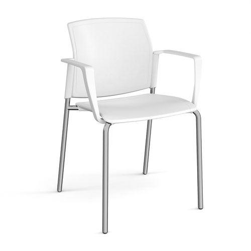 Santana 4 leg stacking chair with plastic seat and back and chrome frame and fixed arms - white