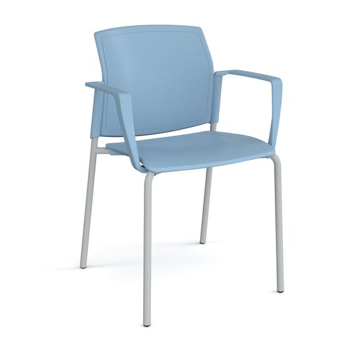 Santana 4 leg stacking chair with plastic seat and back and grey frame and fixed arms - blue