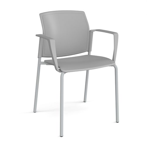 Santana 4 leg stacking chair with plastic seat and back and grey frame and fixed arms - grey