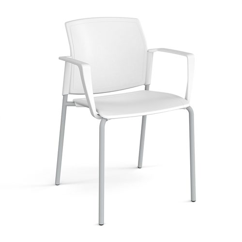 Santana 4 leg stacking chair with plastic seat and back and grey frame and fixed arms - white