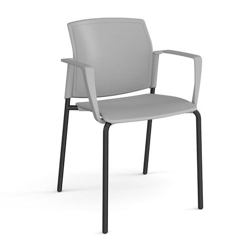 Santana 4 leg stacking chair with plastic seat and back