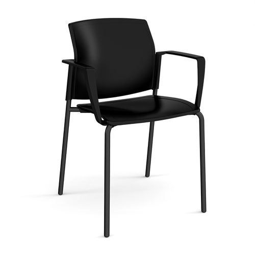 Santana 4 leg stacking chair with plastic seat and back and black frame and fixed arms - black
