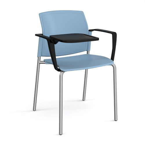 Santana 4 leg stacking chair with plastic seat and back and chrome frame with arms and writing tablet - blue
